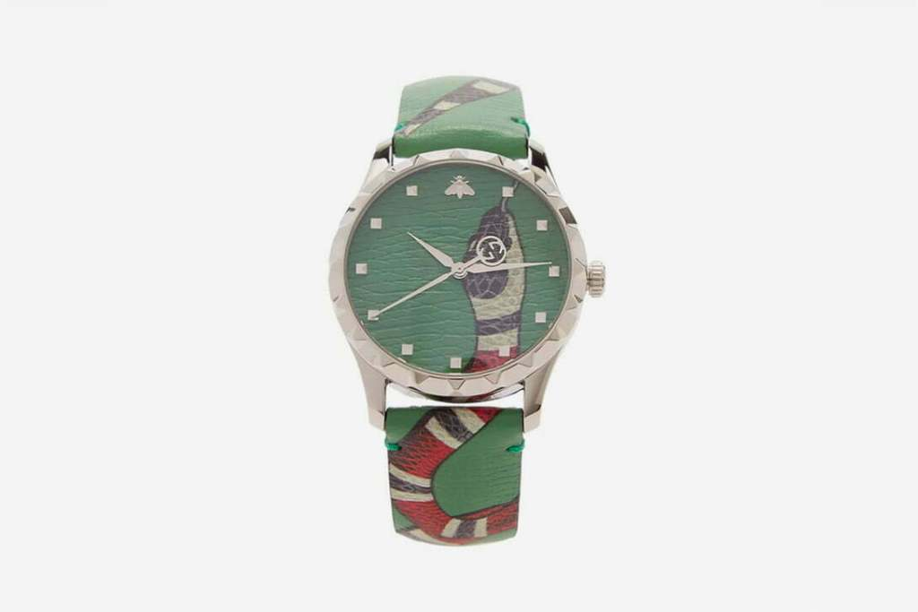"""New Gucci Leather Watch With Popular """"Kingsnake"""" Graphic"""