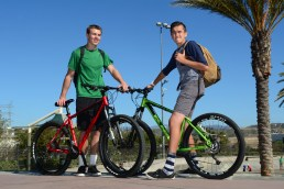Two boys hanging out on their KHS mountain bikes