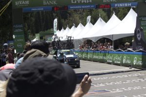 Elevate KHS pro cycling's James Piccoli crossing the finish line in first place at the first stage of the Tour of Utah.