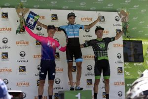 Elevate KHS pro cycling's James Piccoli on the Tour of Utah podium after winning the first stage of the race.