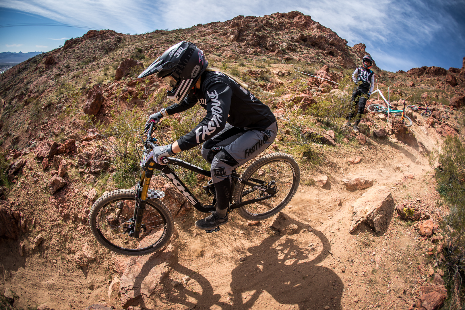 KHS pro mtb team rider Kailey Skelton riding at Bootleg canyon.