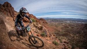KHS pro mtb team rider Kailey Skelton riding at Bootleg canyon.