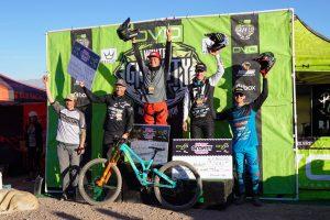 KHS Pro MTB team riders Nik Nestoroff and Steven Walton on the podium at the second race of the Devo Winter Gravity series.