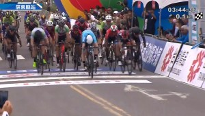 KHS Elevate Webiplex rider Eric Young crossing the finish line in 1st place in stage 4 of the Tour de Taiwan.