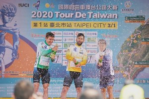 KHS Elevate Webiplex riders Eric Young and Sam Bassetti celebrate on the podium after stage one at the Tour de Taiwan.
