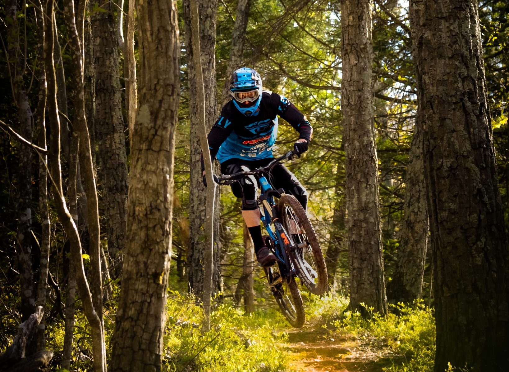 KHS pro MTB team rider Seamus Powell riding and jumping his KHS 7500 bike in upstate New York.