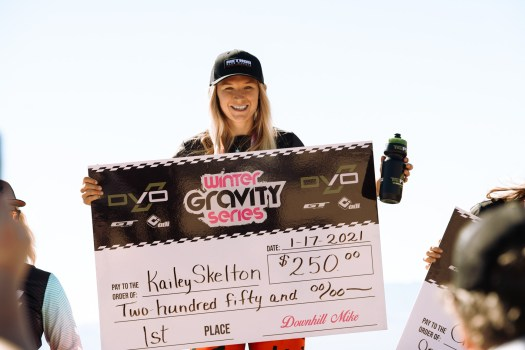 KHS Pro MTB team rider Kailey Skelton on the podium after winning the Nevada State Championship at Bootleg canyon.