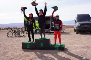 KHS Pro MTB team rider Steven Walton on the podium in third place at race 2 of the DVO Winter Series at Bootleg Canyon.