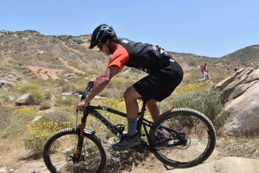 KHS Pro MTB rider Steven Walton racing on the Enduro track out Fontana at the Finals of the Southridge WInter Series.