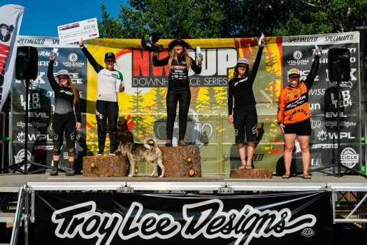 KHS Pro MTb rider Kailey Skelton on the podium in first place at the Northwest Cupat Tamarack Resort Id.