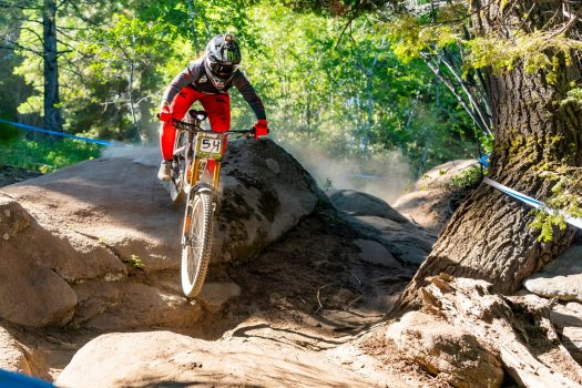 KHS Pro MTB rider Kailey Skelton taking a practice run at Tamarack Resort,ID. for the third stop of the Northwest Cup.