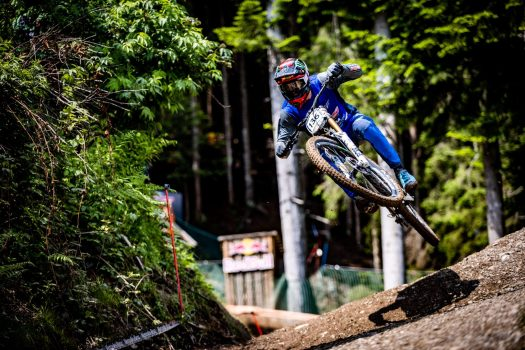 KHS Pro MTB RIder Nik Nestoroff getting in a race run at the first World Cup race of 2021 in Leogang, Austria.