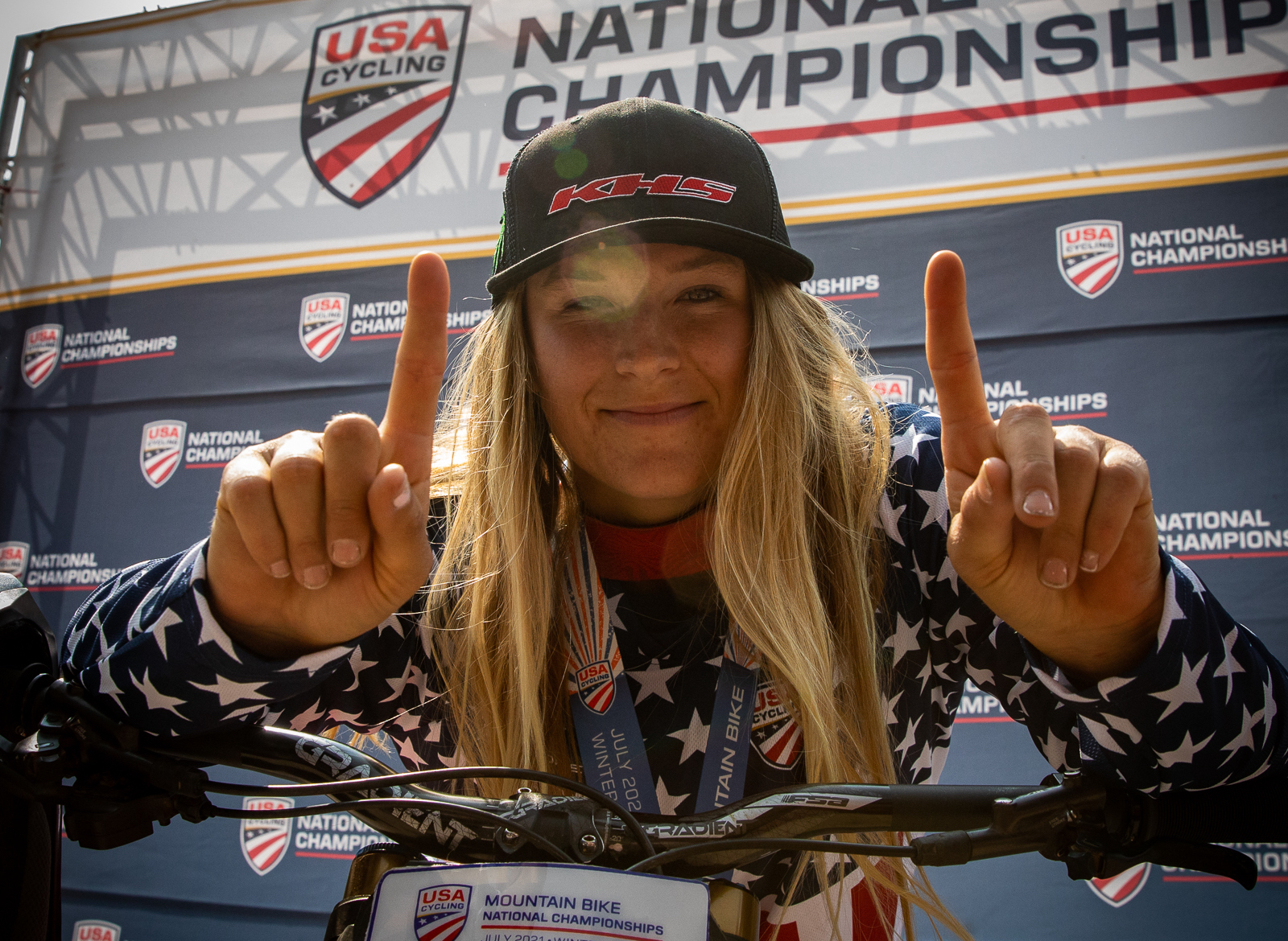 KHS Pro MT rider Kailey Skelton, the 2021 US Women's National Downhill Champion.
