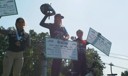 KHS pro MTB rider Kailey Skelton taking the Win on the podium at Mountain Creek Resort.