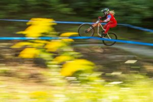 KHS pro MTB rider Kailey Skelton hitting the trail for her practice run at Mountain Creek Resort for the second stop of the US Downhill Series.