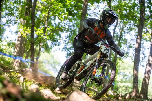 KHS pro MTB rider Steven Walton hitting the trail for practice at Mountain Creek Resort for the second stop of the US Downhill Series.