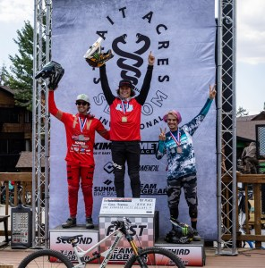 KHS Pro MTB rider Steven Walton standing on the podium in second place at the Strait Acres all mountain event in Big Bear California.