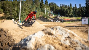 KHS Pro MTB rider Steven Walton on the dual slalom course at the Strait Acres all mountain event in Big Bear California.