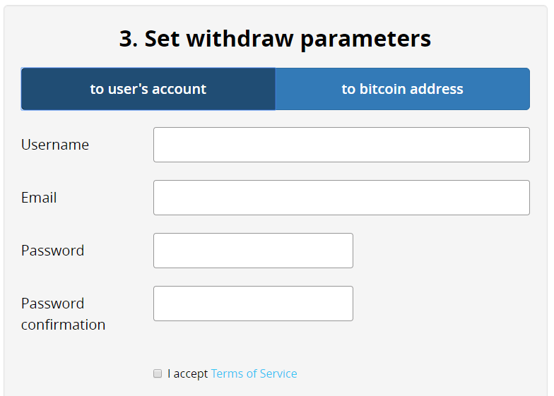 Set withdraw parameters