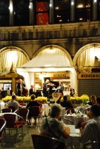 A classical quintet plays beautiful music in the Piazza San Marco