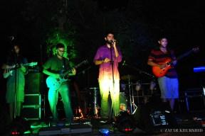 Left to Right: Sharan Subrahmanyam (Guitar), Aranya Sahay (Lead Vocals), Kabir David (Guitar)