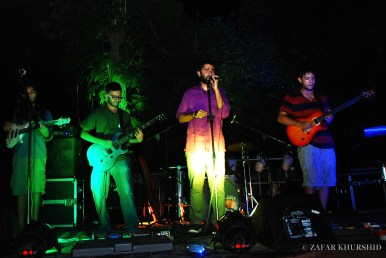 Left to Right: Sharan Subrahmanyam (Guitar), Aranya Sahay (Lead Vocals), Kabir David (Guitar)