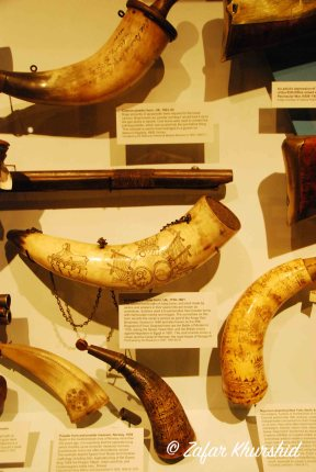 Some exquisitely carved bone and wood horns