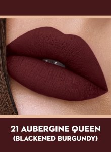 21 Aubergine Queen (Blackened Burgundy) Of Sugar Smudge Me Not Liquid Lipstick