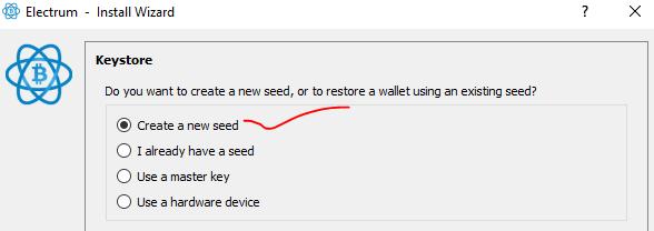 create neww seed ইলেক্ট্রাম ওয়ালেট ব্যবহার গাইড