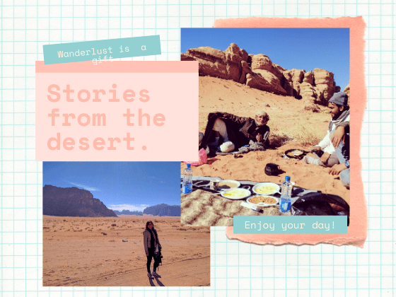Collage of a woman standing in the wadi rum desert and a couple of bedouins eating in the desert