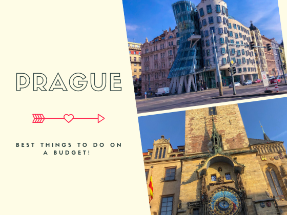 A collage of the dancing building from Prague and Prague's astronomical clock tower