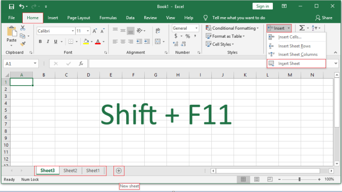 Insert a New Worksheet in Excel When you open a new workbook, Excel places one or three blank sheets (depending on excel version) by default. However, you can insert a new worksheet in excel using Excel command or shortcut by using the following steps. Insert a New Worksheet in Excel: Step-1: The fastest and easiest way to create a sheet in Excel is through the new sheet icon (+) that is displayed right next to the name of the sheets. Step-2: Click on this icon (+) will create a new sheet instantly. See the below screenshot. The second method to create new sheet in excel is also very easy, follow the below simple steps. Step-1: Click on the File tab. Step-2: Choose the Insert option. Step-3: Click on the Insert Sheet. See the below screenshot. Shortcut Key for Create New Sheet in Excel: You can use a shortcut key to create a new blank worksheet in excel. Just press the Shift+F11 buttons from the keyboard. Back to Microsoft Excel Tutorial Description: Insert a New Worksheet in Excel, select a File tab, choose Insert option, click on Insert Sheet. Or just click on the New Sheet Icon (+) next to the sheet's name. Keyword Insert a New Worksheet in Excel Create New sheet in Excel