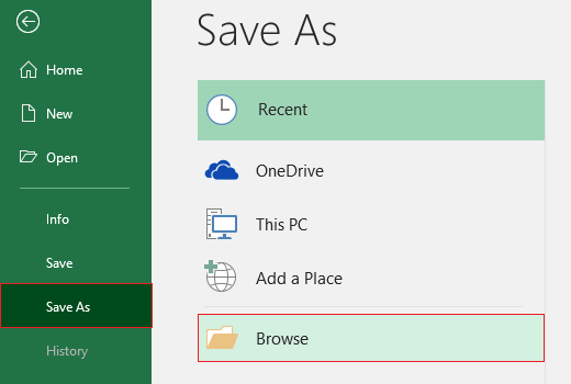 Save as command in excel