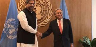 Khaqan Abbasi meets UN Secretary General