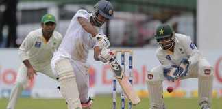 Kurunaratne batting against Pakistan in Dubai test