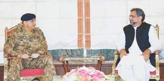 PM Shahid Khaqan Abbasi-COAS Qamar Javed Bajwa meeting