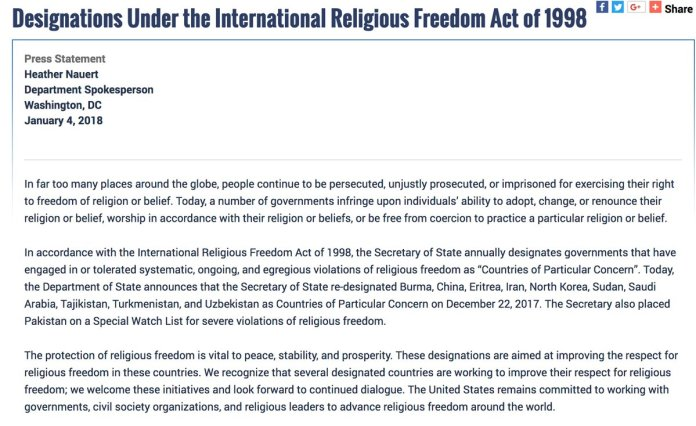 US places Pakistan on special watch list for 'violations of religious freedom'
