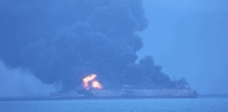 Iranian oil tanker on fire