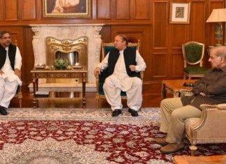 PM Shahid Khaqan Abbasi, Shehbaz Sharif calls on Nawaz Sharif