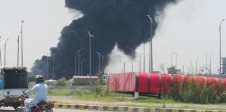 Fire erupts in weekly bazaar near Peshawar Morr, Islamabad