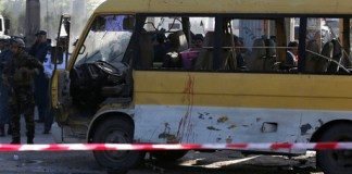 Suicide attack on Afghan police bus kills six