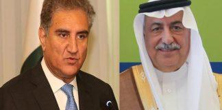 FM Qureshi briefs Saudi counterpart on Indian atrocities in occupied Kashmir