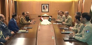 Oman SAF's Lt Gen Ahmed calls on COAS General Bajwa at GHQ