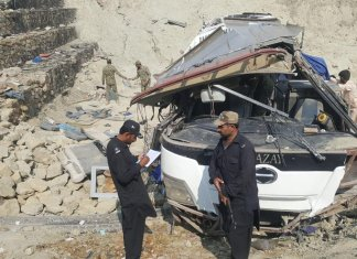 Nine killed as bus falls into ditch on Makran Highway