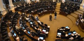 Ruckus in KP Assembly as opposition, treasury exchange heated arguments