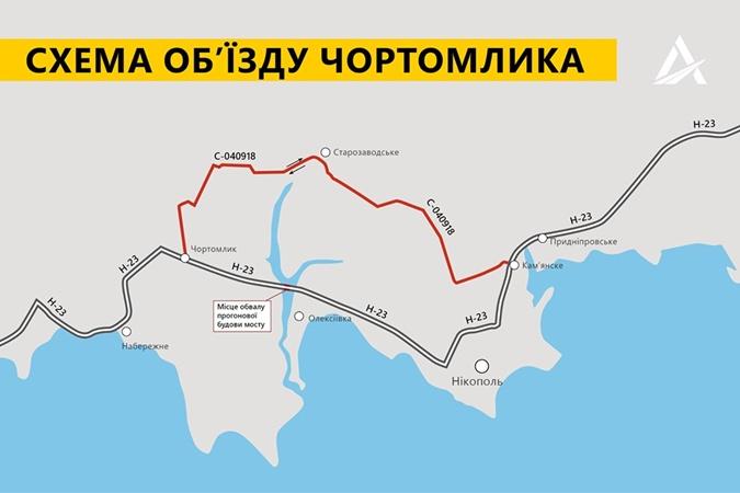 Обвалення моста під Нікополем: назвали причину і організували об'їзд [схема]
