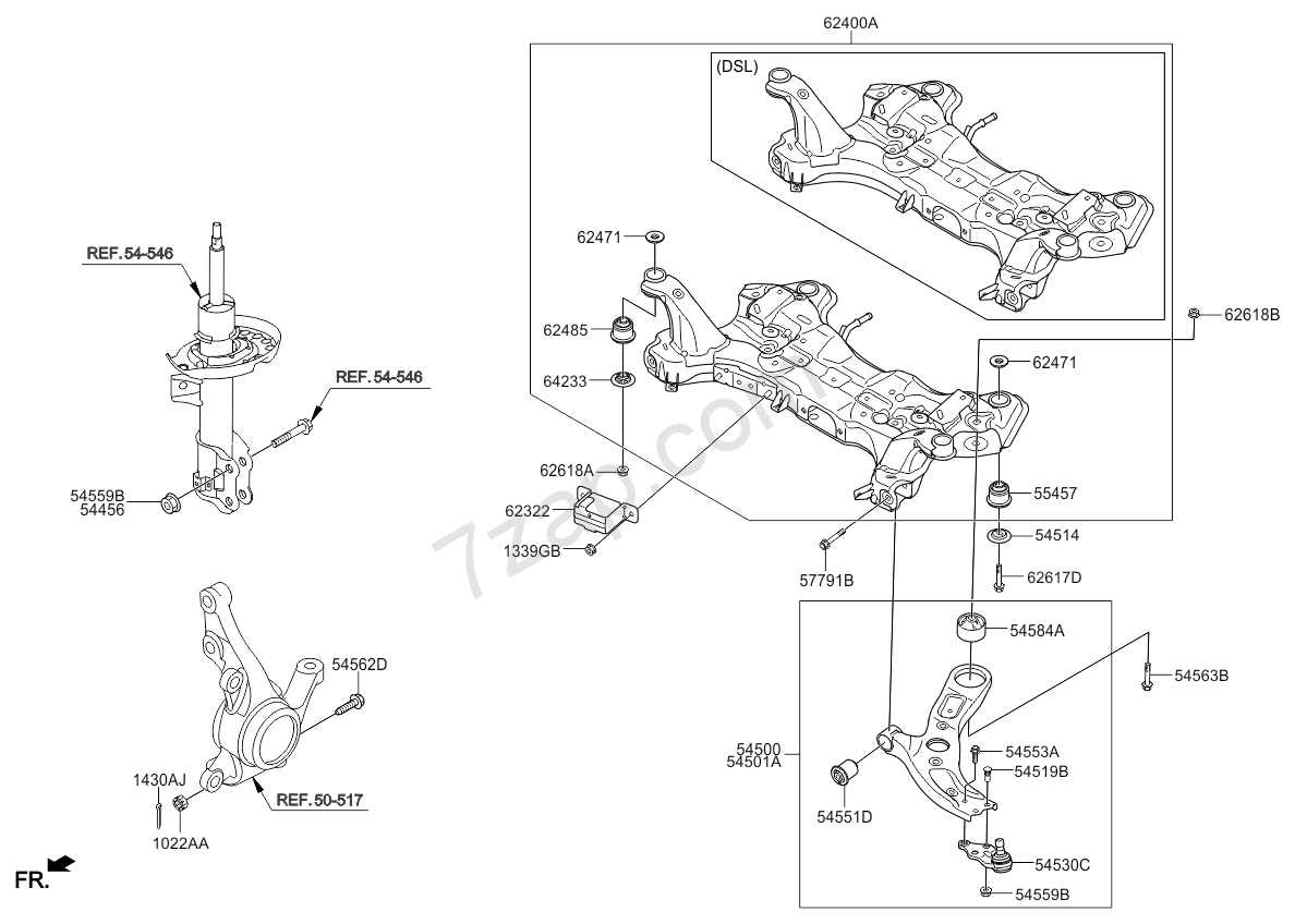 FRONT SUSPENSION CROSSMEMBER KIA RONDO/CARENS 12 (2013