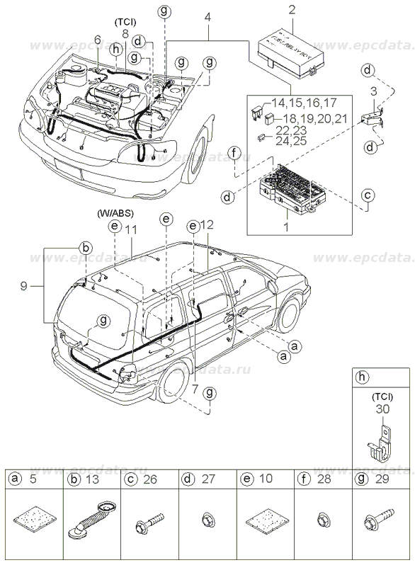 Wiring harness-front & rear на Киа Карнивал (Kia Carnival)