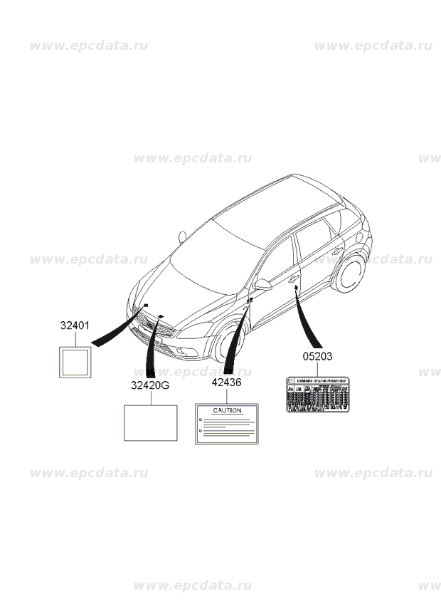 Лэйбл на Киа Сид (Kia Ceed) 324102A430 Label-Absortion