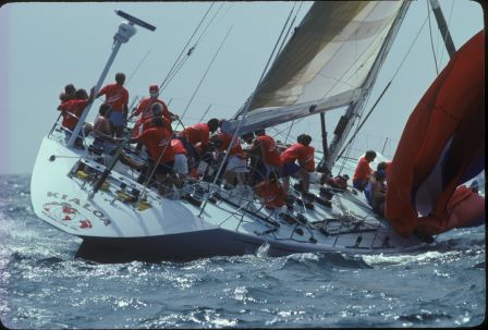 1980s, Kialoa V Crew and Spinnaker sail